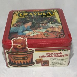 1992 Crayola Collectible Christmas Tin w/ornament